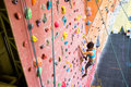 Fit woman rock climbing indoors Royalty Free Stock Photo