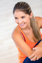 Fit woman sitting at the gym Royalty Free Stock Image