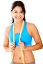 Fit woman with tape measure Royalty Free Stock Photo
