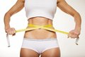Fit woman in underwear with measure tape Royalty Free Stock Images