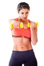 Fit woman with weights Stock Photo