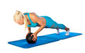 Fit woman working on push up attractive blond exercise with ball Royalty Free Stock Photography