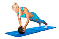 Fit woman working on push up attractive blond exercise with ball Stock Photo
