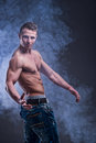 Fit young muscular man Stock Photos