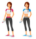 Fit young woman in sportswear with water bottle Stock Images