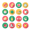 Fitness – flat icons vector collection of healthy lifestyle symbols and equipment Royalty Free Stock Photography