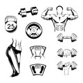 Fitness badges Set. Sport Labels, Gym icons, Woman and Man Silhouettes, Barbell and Weight Symbols. Sport equipment. Vector. Royalty Free Stock Photo