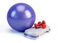 Fitness ball, weights and fitness step board Royalty Free Stock Image