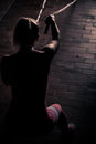 Fitness battling ropes at gym workout fitness exercise.Young woman doing some crossfit exercises with a rope at a gym Royalty Free Stock Photo