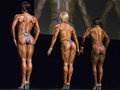 Fitness beauties line up in vancouver brittany kanne th whitney jones nd and tanji johnson st show of their definition and Royalty Free Stock Photo
