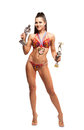Fitness bikini athlete with winning medals isolated on white background Royalty Free Stock Image