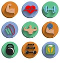 Fitness bodybuilding sport icons set of heart rate physical strength slimness isolated vector illustration Stock Images