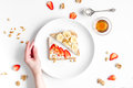 Fitness breskfast with homemade sandwiches white table background top view