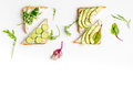 Fitness breskfast with homemade sandwiches white table background top view mock up