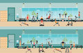 Fitness cardio exercise and equipment with people in fitness gym