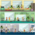 Fitness center interior vector illustration. People work out in gym horizontal banners. Sport activities concept. Royalty Free Stock Photo