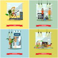 Fitness center interior vector illustration. People work out in gym. Sport activities concept. Royalty Free Stock Photo