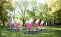 Fitness class a group of women in dresses exercising outdoors Royalty Free Stock Images