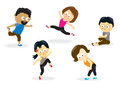 Fitness class illustration of a group of adults doing aerobics Stock Photos