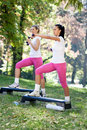 Fitness class outdoor group of women on Royalty Free Stock Image