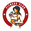 Fitness Club Color emblem with training woman