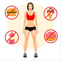 Fitness concept with fit woman in sportswear. Muscular Models cartoon girl. Harmful food. Vector illustration