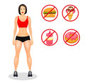 Fitness concept with fit woman in sportswear. Muscular Models cartoon girl. Useful and harmful food. Vector illustration