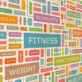Fitness concept related words in tag cloud conceptual info text graphic word collage Stock Photos