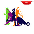 Fitness concept, running woman with stroller, icon, vector illustration Royalty Free Stock Photo