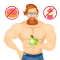 Fitness concept with sport bodybuilder Bearded Hipster with glasses and Red Hair. Muscular Fitness models. Useful and