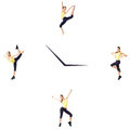 Fitness concept with the sporty woman on a white background on the clock. Royalty Free Stock Photo