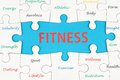 Fitness concept words wordcloud on group of jigsaw puzzle pieces Royalty Free Stock Photos