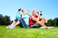 Fitness couple happy senior in the park Royalty Free Stock Photo