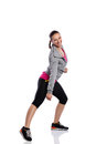 Fitness dance young smiling woman doing Stock Image