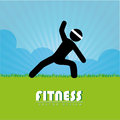 Fitness design over landscape background vector illustration Stock Photos