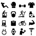 Fitness diet and healthy living icon set Stock Photography