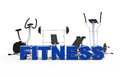 Fitness equipment and blue letters Stock Image