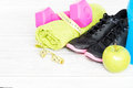 Fitness equipment and healthy nutrition. Royalty Free Stock Photo