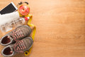 Fitness equipment and healthy nutrition Royalty Free Stock Photo