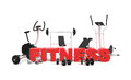 Fitness equipment and red letters Royalty Free Stock Photos
