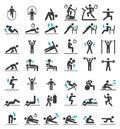 Fitness exercise workout icons set. Royalty Free Stock Photo
