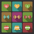 Fitness exercises progress icons set of cardio equipment and diet isolated vector illustration Royalty Free Stock Photo