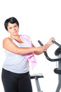 Fitness for fat woman Royalty Free Stock Photos