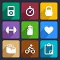 Fitness flat icons set and sport for web and mobile applications Royalty Free Stock Photography