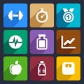 Fitness flat icons set and sport for web and mobile applications Royalty Free Stock Image