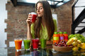 Fitness Food, Nutrition. Healthy Eating Woman Drinking Smoothie Royalty Free Stock Photo