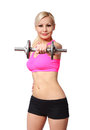 Fitness girl with dumbbell. happy blonde young woman lifting weights, isolated Royalty Free Stock Photo