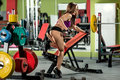 Fitness girl  execute exercise with  dumbbells Royalty Free Stock Photo