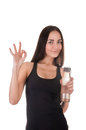 Fitness girl a holding water after a workout Stock Photography