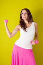 Fitness girl in pink Stock Photography